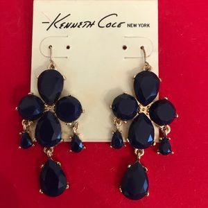 Cobalt blue Kenneth Cole chandelier earrings.